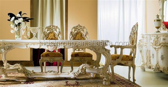 Elegante bianco in stile barocco rococò tavolo da pranzo rotondo ...