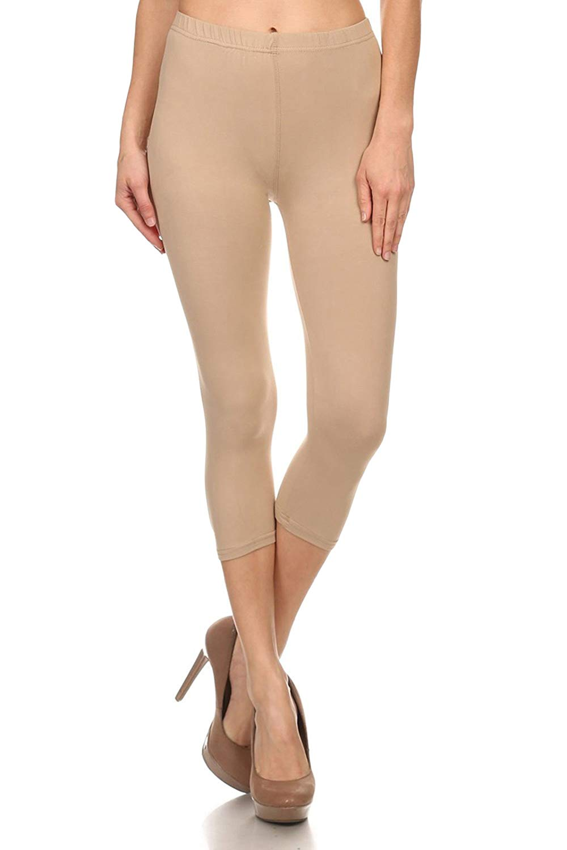 Leggings Mania Women's Regular and Plus Size(XS-5XL) Capri Length Best Selling Leggings - Many Solid Colors