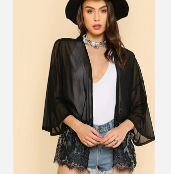 2019 Summer Women's Sexy Tops Black Chiffon Cardigan