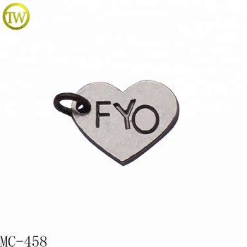 Heart shape stamped name charms custom metal jewelry tag with ring