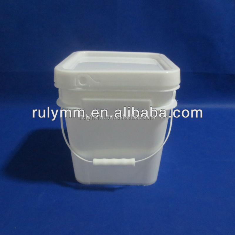 Multifunctional 10 liter square plastic bucket with lid and handle
