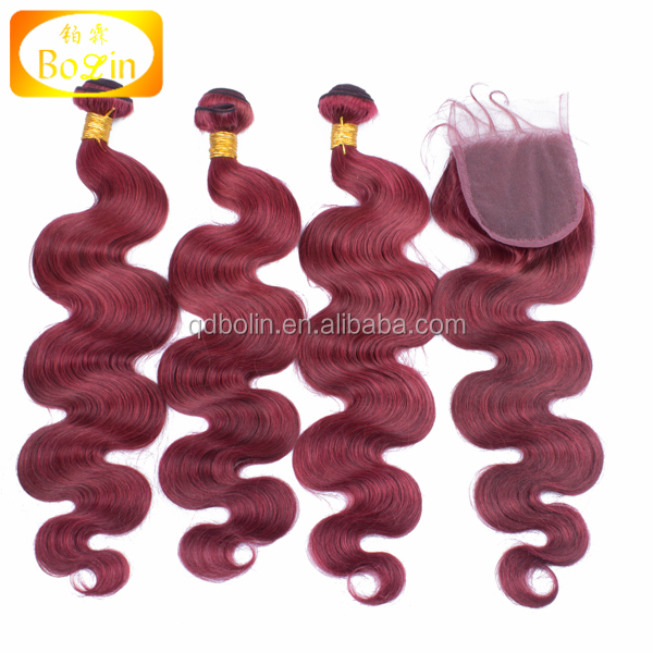 Ombre 99j Hair Body Wave Burgundy Brazilian Hair With Lace Closure