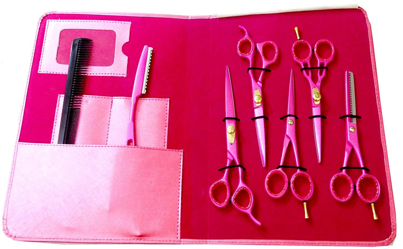 ZZZRT (Complete Students & Barber Kit) Japanese J2 Stainless Steel Pro Razor edge Barber Hair cutting scissors shears Barber Thinning Scissors Shears And Hair Thinning Razor with Comb + Free scissors Lubricant & scissors insert rings