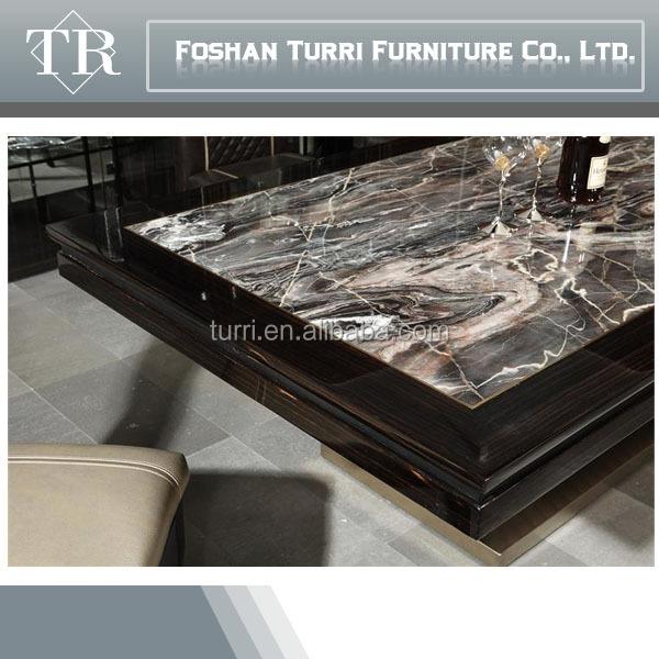 New classic luxury marble top y base de madera mesa de comedor ...