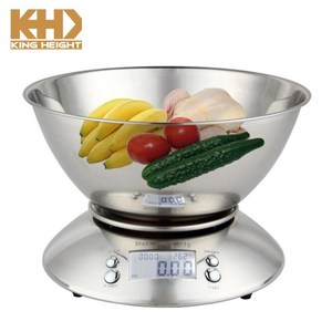 KH-0054 Portable 5KG Stainless Steel Bowl Durable Vegetable Electronic Kitchen Scale with Clock