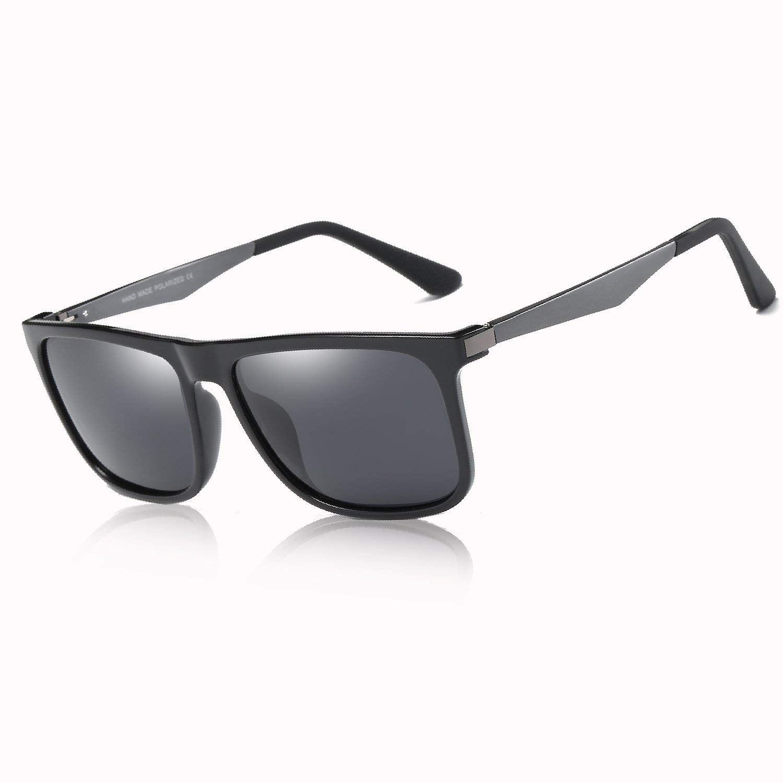 BLEVET Classic Retro Square Driving Polarized Sunglasses Men Aluminum Magnesium Metal Legs Sun Glasses