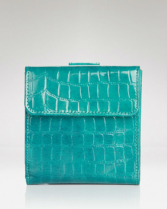 patent faux alligator skin leather wallet