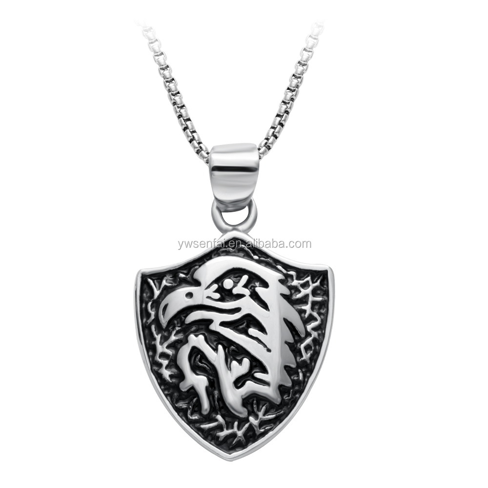 Antique silver custom pendant viking style shield necklace for men