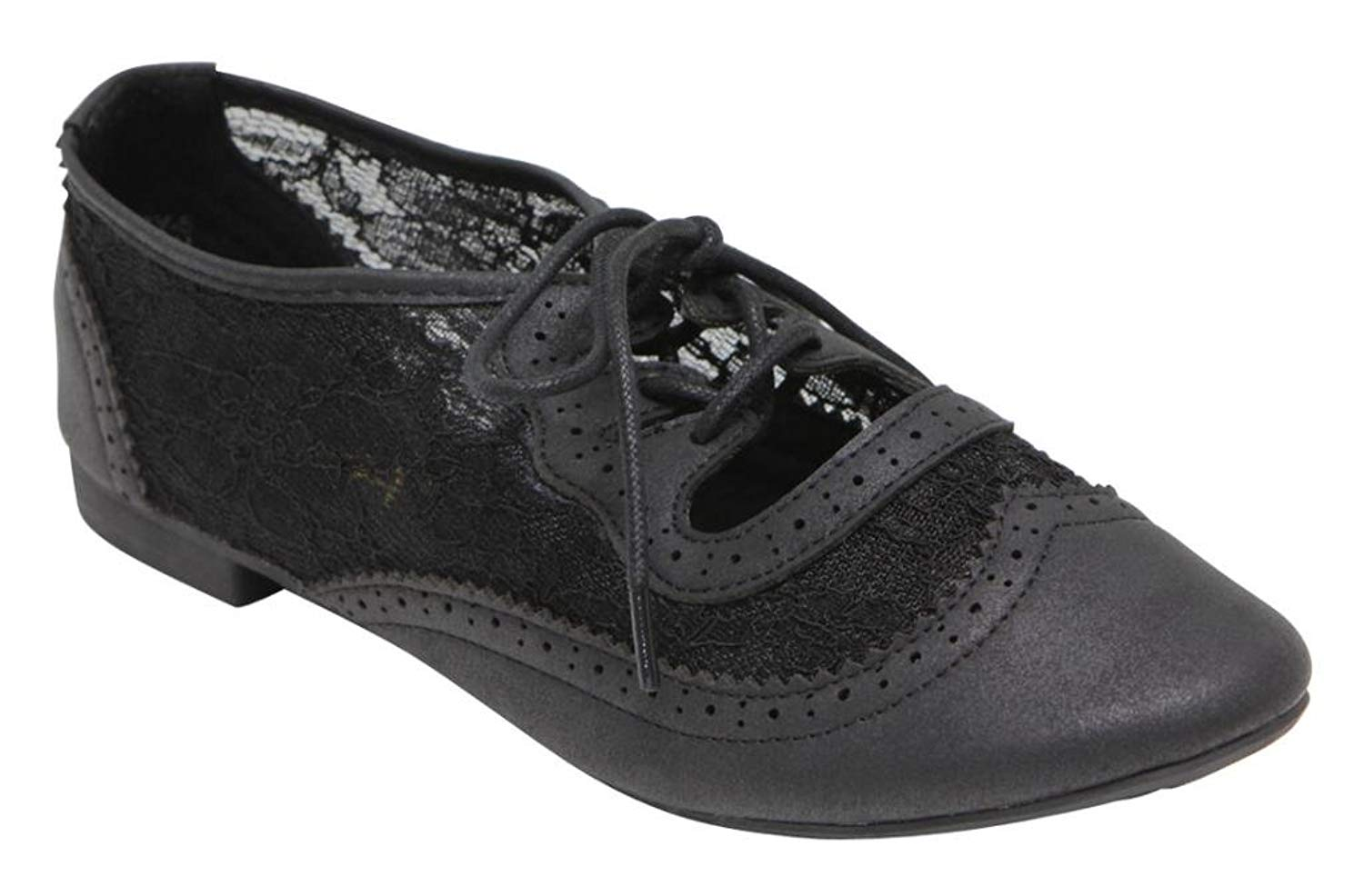 ANNA Rosy-5 women's fashion spring athletic lace up hollow cut out perforated paisley oxfords Black 7.5
