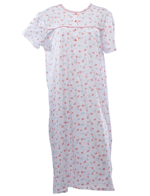 6d52c62f36 Get Quotations · Waite Ltd Ladies Jersey Cotton Floral Nightdress Womens  Short Sleeved Flower Nightie (Blue or Orange