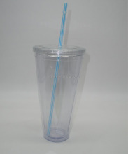 30OZ coffee tumbler double wall disposable plastic cup with straw
