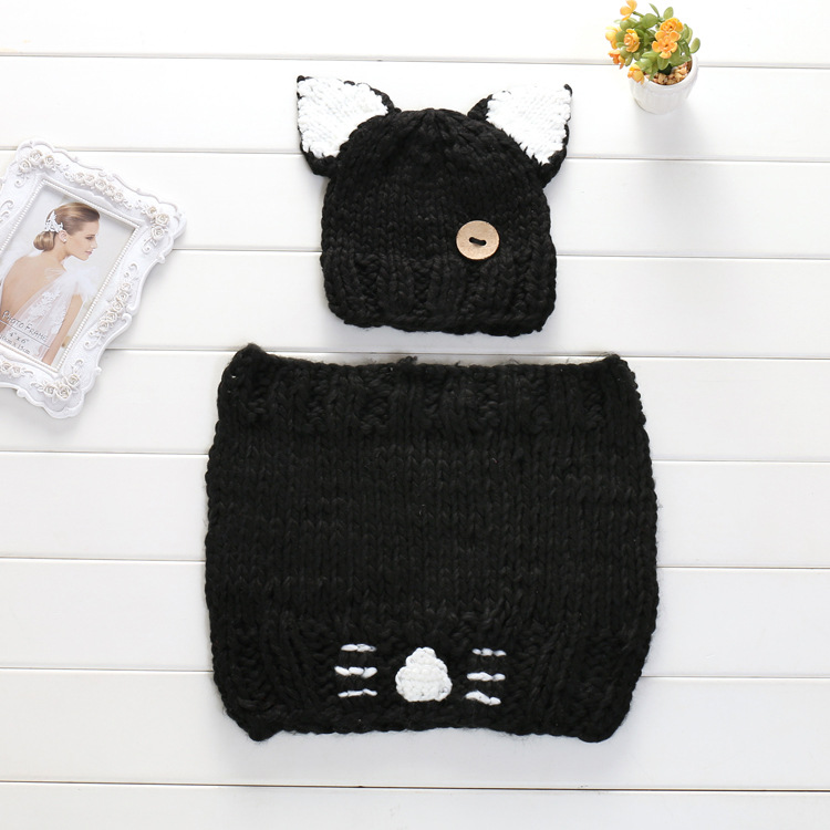 lovely cat design wrap knitting suit newborn baby photography props