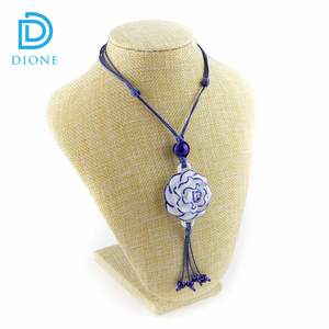China Handmade Traditional Culture Ceramics Lotus Flower Necklace Jewelry