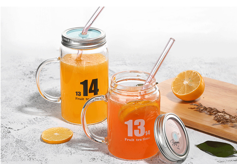 350ml Handmade Heat Resistant Borosilicate Glass Mason Jar Drinking Glass With Lid and Glass Drinking Straws