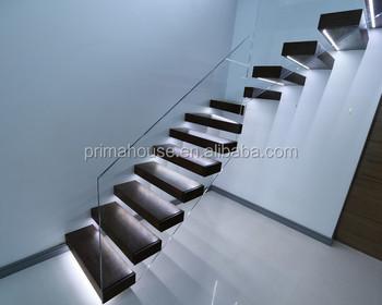 Moderen ontwerp hout drijvende trap interieur glas trapleuningen