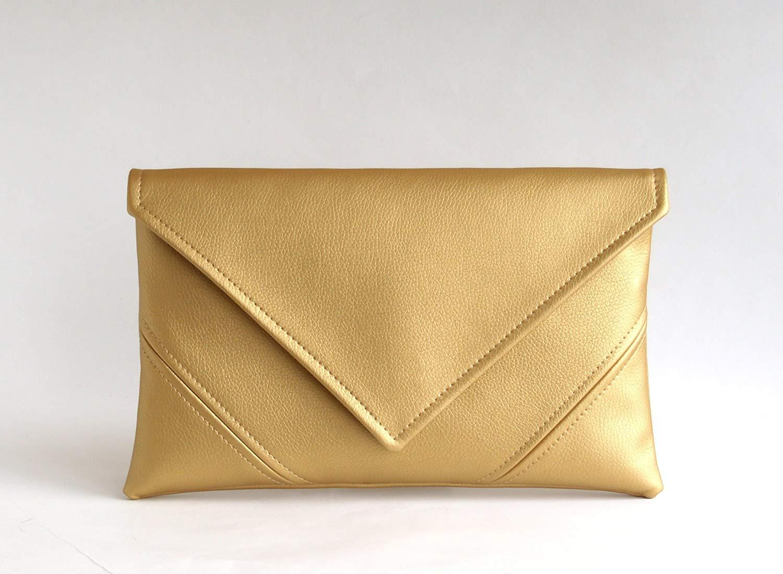 Gold Clutch Bag Handmade Bridal Clutch Purse Bridesmaid Clutch Handbag Vegan Leather Clutch Wallet Evening Clutch Womens Gift For Her Vegan Handbag