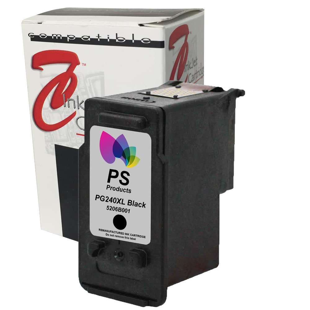 PS Products TM Remanufactured Ink Cartridge Replacement for Canon PG-240XL High-Yield (1 Black) (Show Accurate Ink Levels)