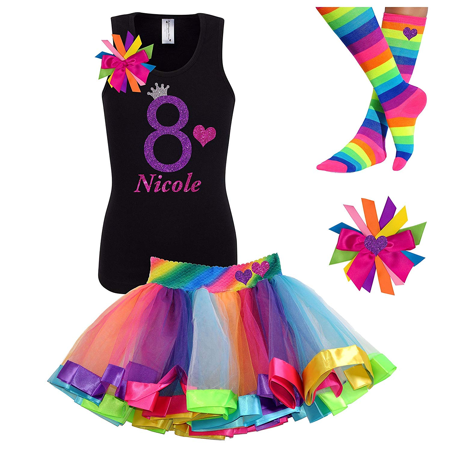 Buy 8th Birthday Shirt Rainbow Heart Tutu Outfit 4PC Gift Set Hair Clip Personalized Name 8 Years Old In Cheap Price On Malibaba