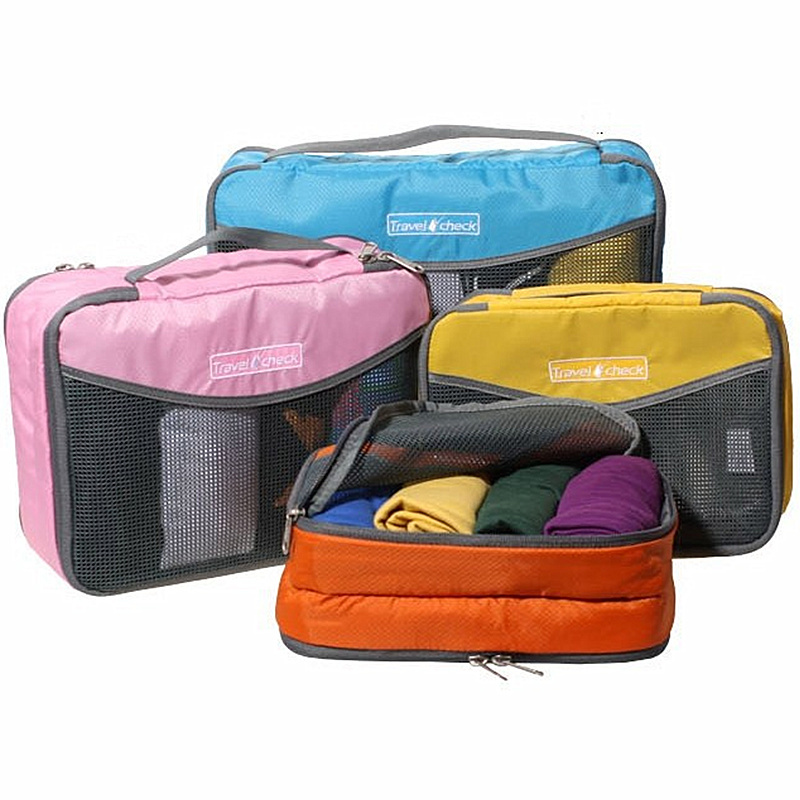 3PCS Orange Nylon Travel Portable Storage Bag For Luggage Clothes Tidy Kit Zipper Bags Mesh Hand Bag Packing Organizer Pouch