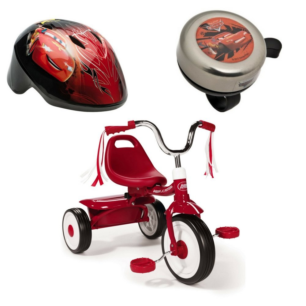 Ready-To-Ride Folding Tricycle, Helmet and Bell Disney cars Bundle (Red)