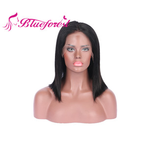Wholesale Cheap Price Free Sample 10 inch Brazilian Hair Lace Front Wig With Baby Hair , Brazilian Virgin Human Hair Half Wig