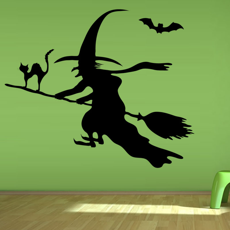 Kids Bedroom Decoration Flying Bat Witch On The Broomstick Cat Wall Sticker Vinyl Removable DIY Home Decor