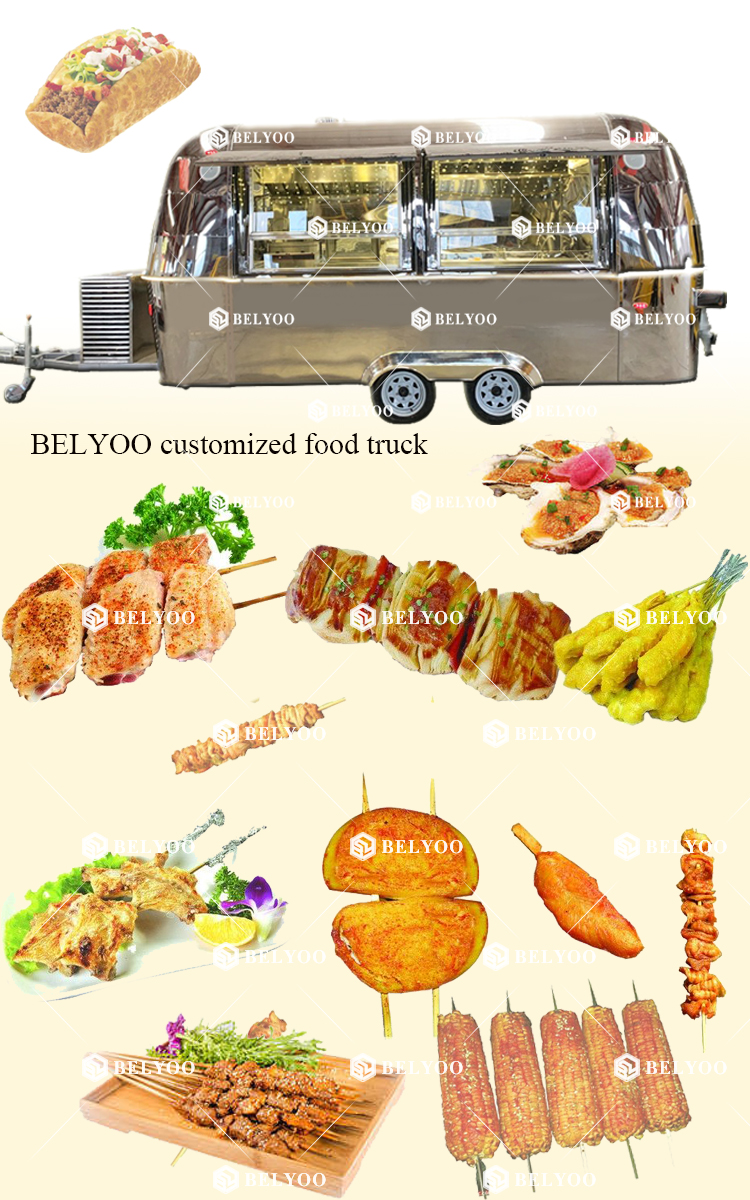 Food Catering Trailer Combo Beef Truck For Wholesales Mobile Ice Cream Cart