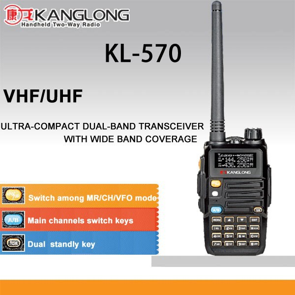 Newest radio 128CH vhf uhf dual band KL-570 vox 2 way radio