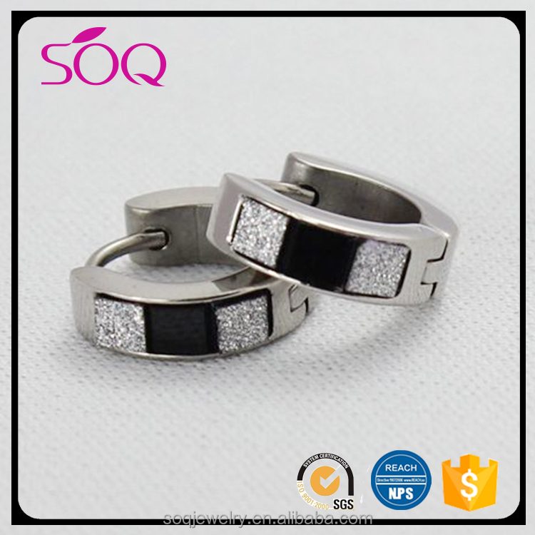 2017 New trendy unique design stainless steel stitching hoop jewelry earring fashion