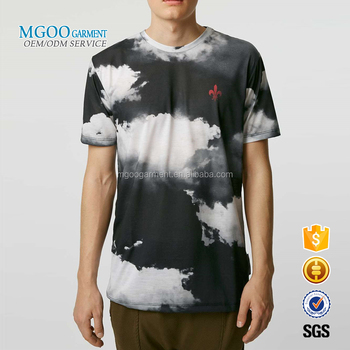 Custom Longline T-shirt For Men Short Sleeves Curved Hem Tie Dye Black And White Fashion Tee Shirts