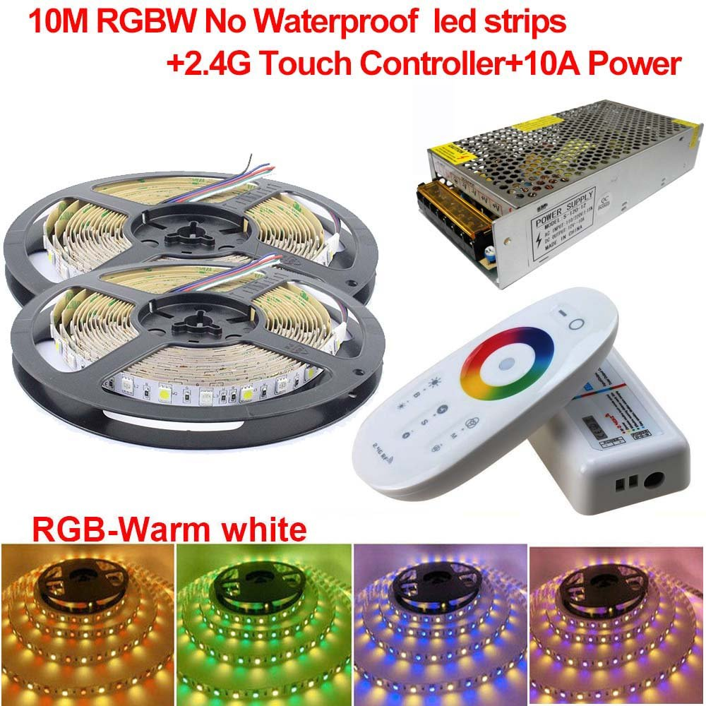 Firstsd 32.8ft RGBW SMD 5050 LED Lights Strip, LED ribbon + 2.4G Controller + 10A Power,DIY Christmas Holiday Home Kitchen Car Bar Party Decoration(Non-waterproof strips, RGBW(RGB+cool white))