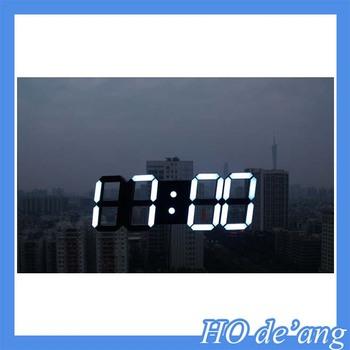 3d Large Modern Design Digital Led Skeleton Wall Clock Timer 2412