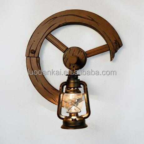 Vintage Antique Indian Wood Led Wall Mount Reading Lamp