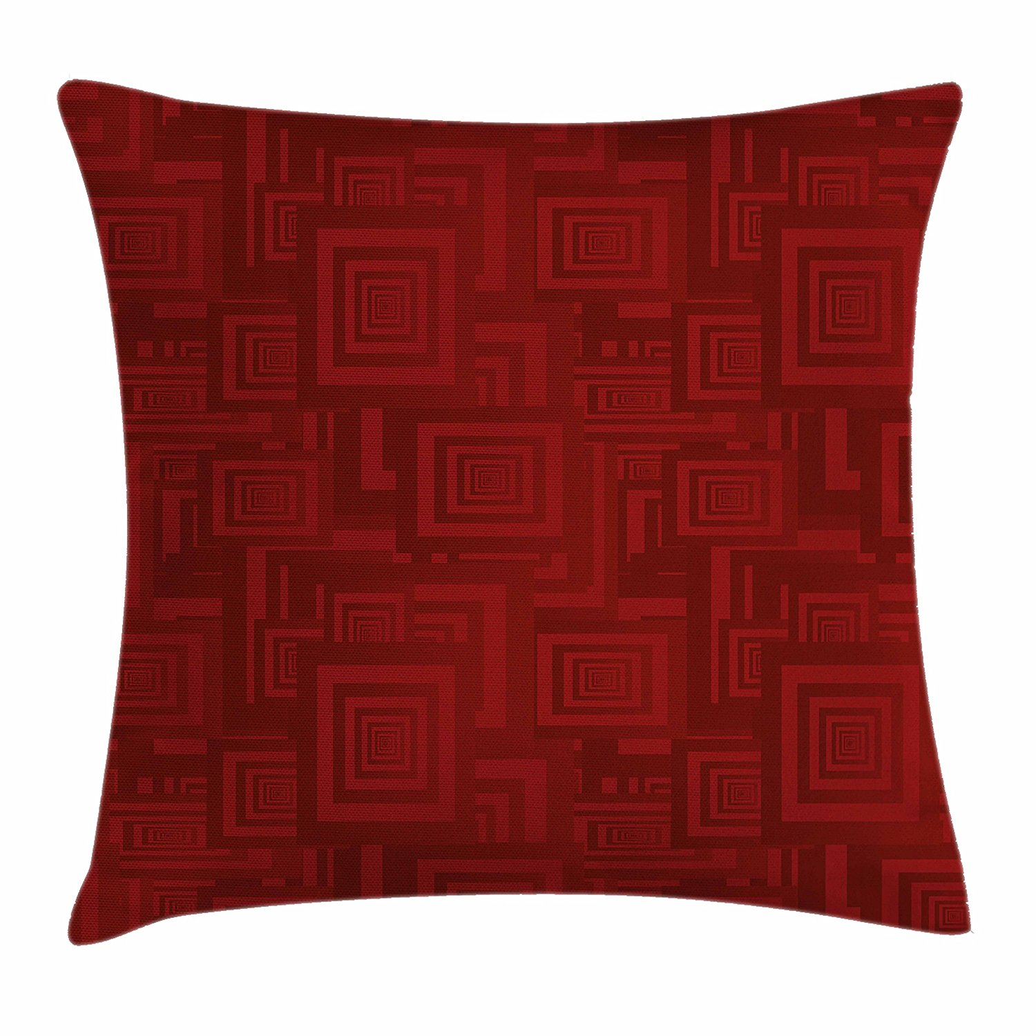 18 X 18 Inches Antique Arabic Artwork Oriental Mandala Inspired Round Ornament Moroccan Ethnic Gold Maroon Decorative Square Accent Pillow Case Ambesonne Maroon Throw Pillow Cushion Cover by