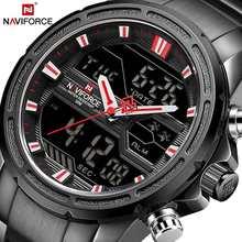 NAVIFORCE Роскошные мужские часы, полностью стальные военные наручные часы, цифровые спортивные часы, мужские водонепроницаемые кварцевые часы...(Китай)