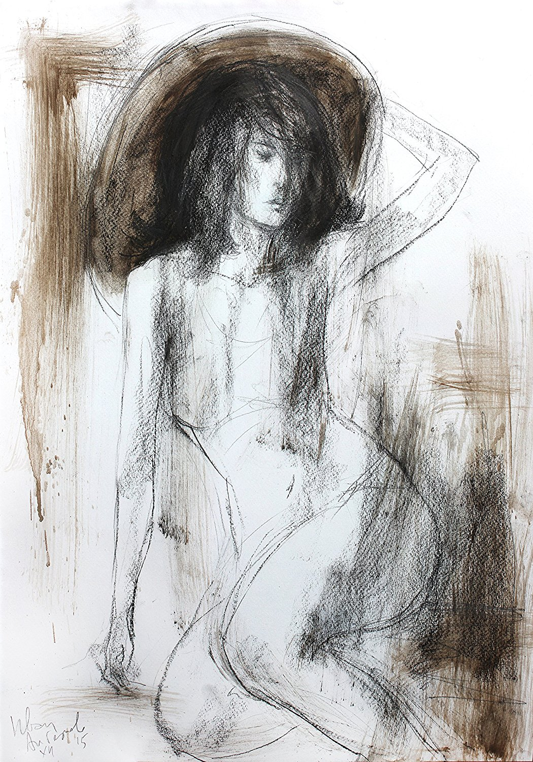 Get quotations · original charcoal sketch wall decor artistic drawing nude woman modern figurative art