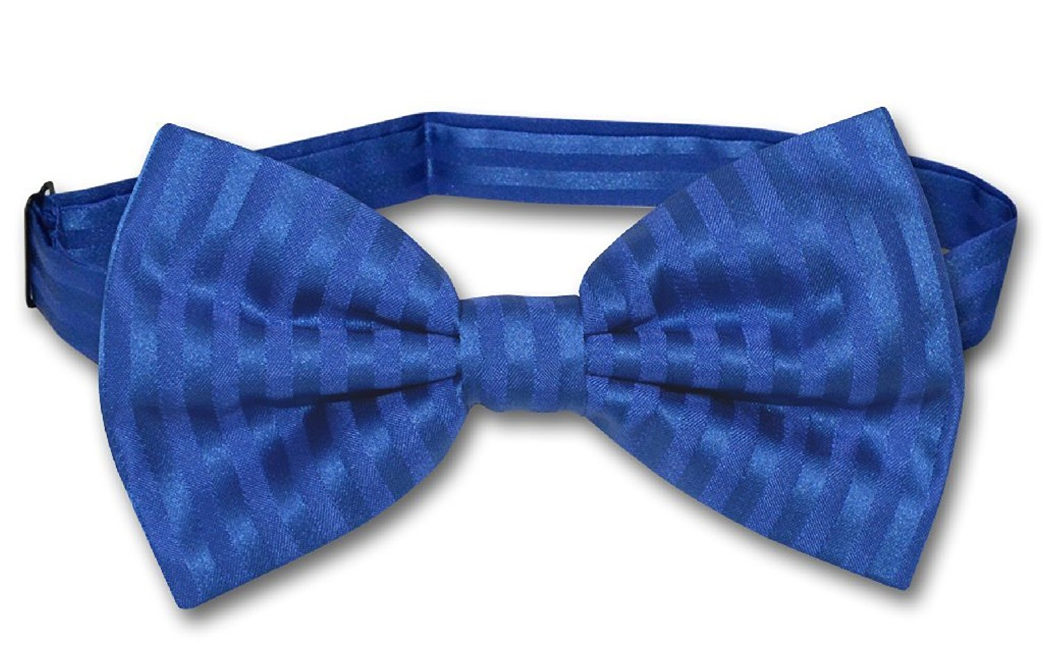 Vesuvio Napoli BOWTie ROYAL BLUE Color Striped Vertical Stripes Men's Bow Tie