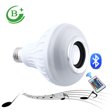 Bluetooth speaker 12w E27 24keys Remote control led colorful music light bulb