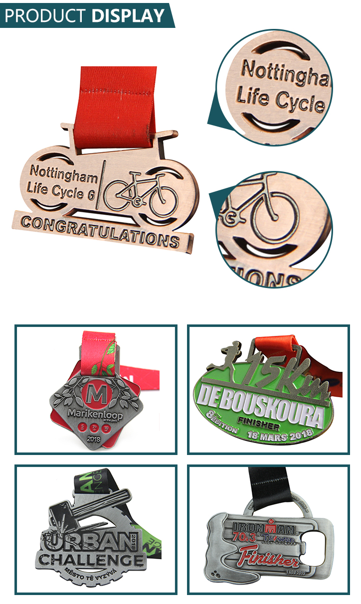 High quality marathon 3d design bicycle sports awards custom medal