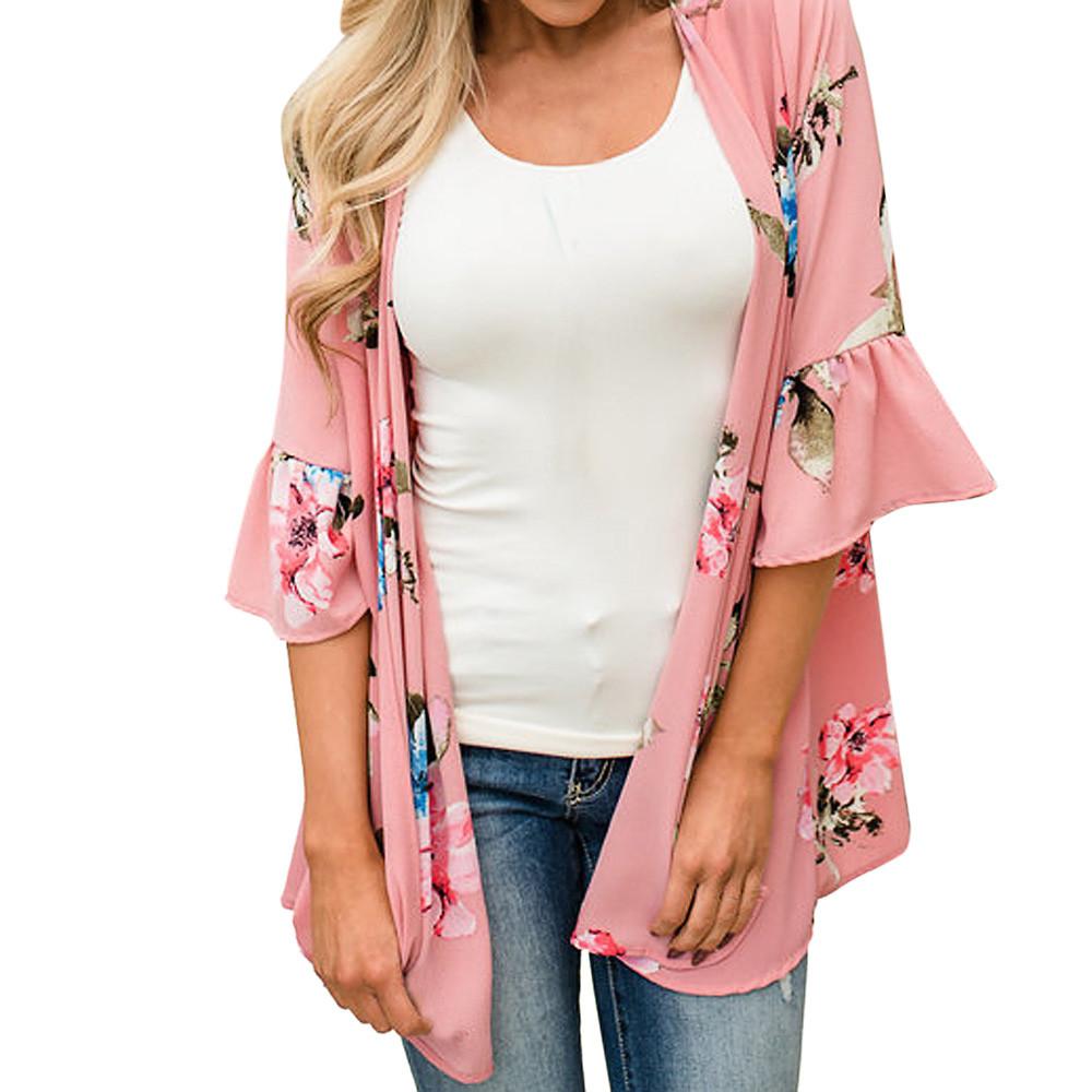 f1c002a49a4 Fashion Womens Chiffon Shawl Print Kimono Cardigan Top Cover Up Blouse  Beachwear