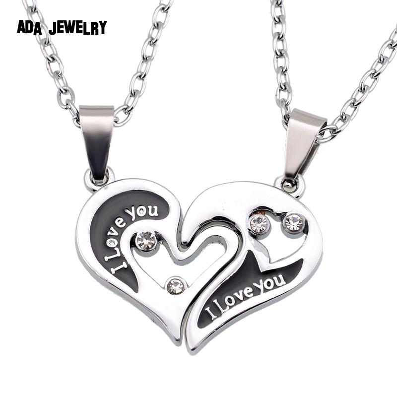 9bef0c42d8 Wholesale Couple Lovers Necklaces Pendants 316L Stainless Chain men  Necklaces I Love U Double Heart Necklace