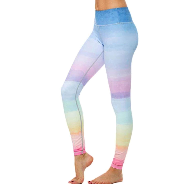 5a6b1dbd3bb38 Get Quotations · Girls Yoga Pants, Inkach Women Rainbow Printed Leggings  Sports Gym Workout Pants Ladies Lounge Athletic