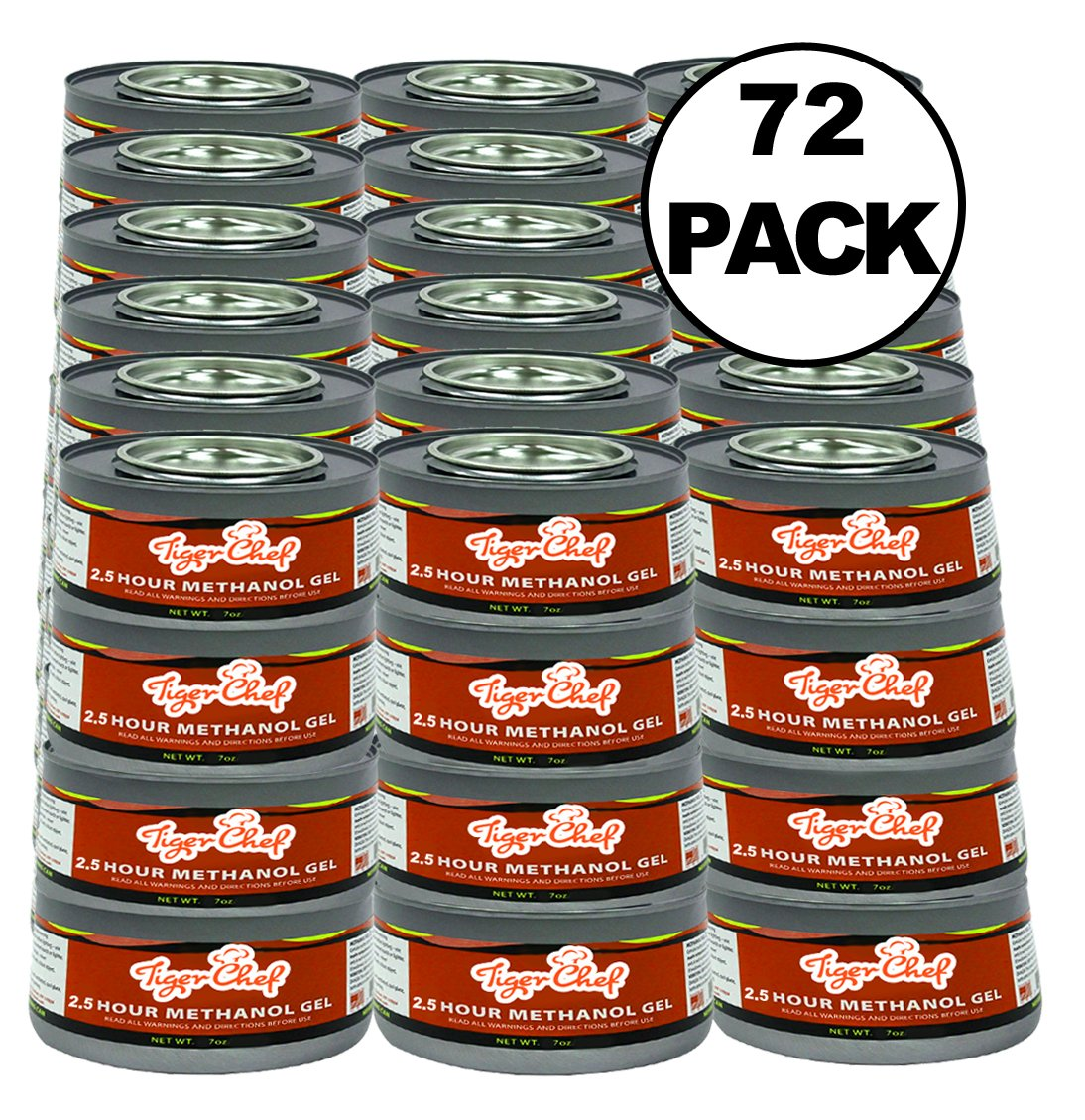 TigerChef TC-20480 Methanol Chafing Fuel Gel Cans, Burns 2.5 Hours, 7 oz Capacity (Pack of 72)