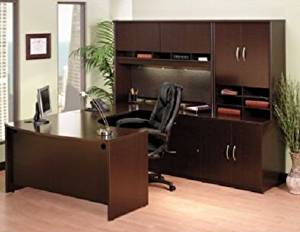 "Bush U Shaped Office Desk W/Hutch Dimensions: 88 3/8""W (Back Of Desk/Hutch Area) 90 5/8"" D (From Back Of Desk To Front) - Mahogany - Right L-Bow Desk (as shown)"