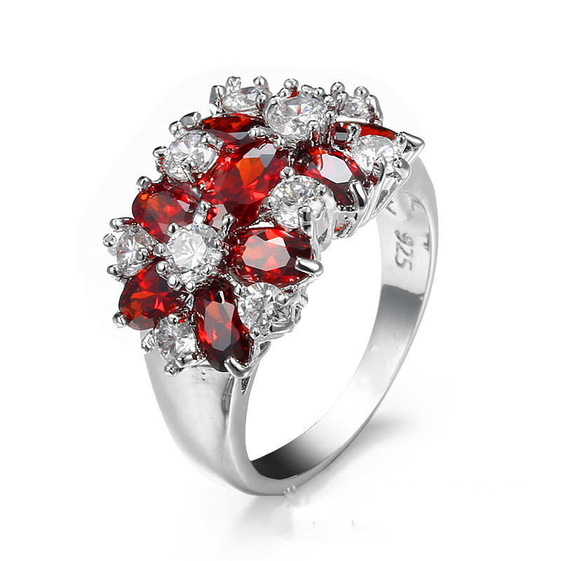 Handmade Women 925 Silver AAA Clear Cubic Zircon Gemstone Wedding 18k White Gold Plated Ruby Ring