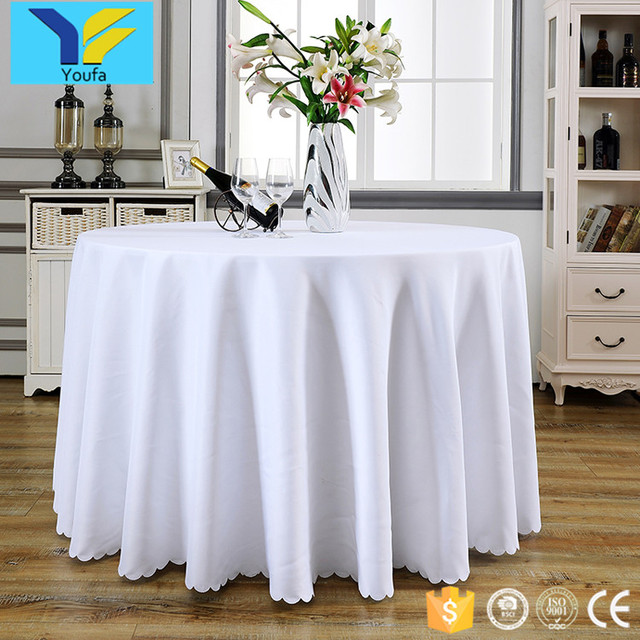 Guangzhou Factory White Polyester Banquet Table Cloth Custom Wedding Round Table  Cover