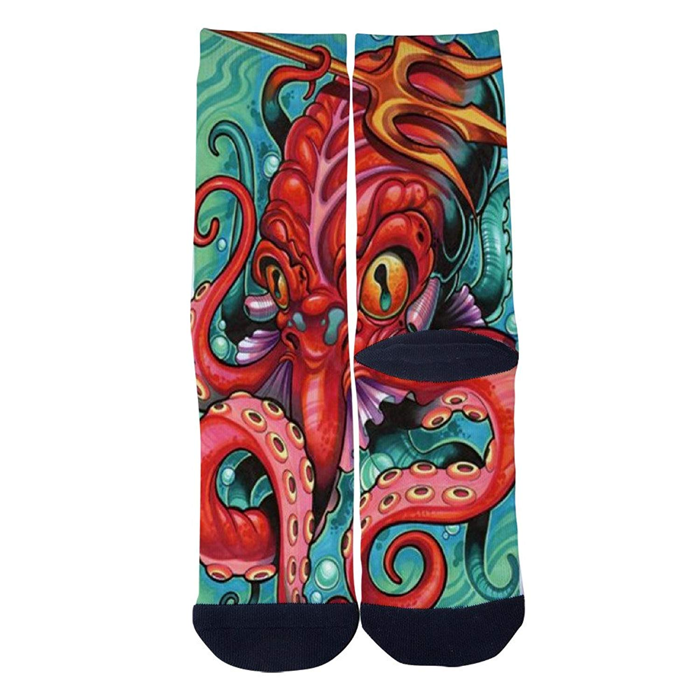 Mens Womens Casual Octopus Socks Novelty Custom Socks Hip Hop Cartoon Socks Elite Crew Socks