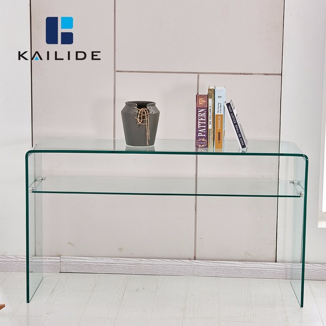2018 Modern Fancy Luxury Glass Furniture Hallway Console Table with Temper Glass Shelf
