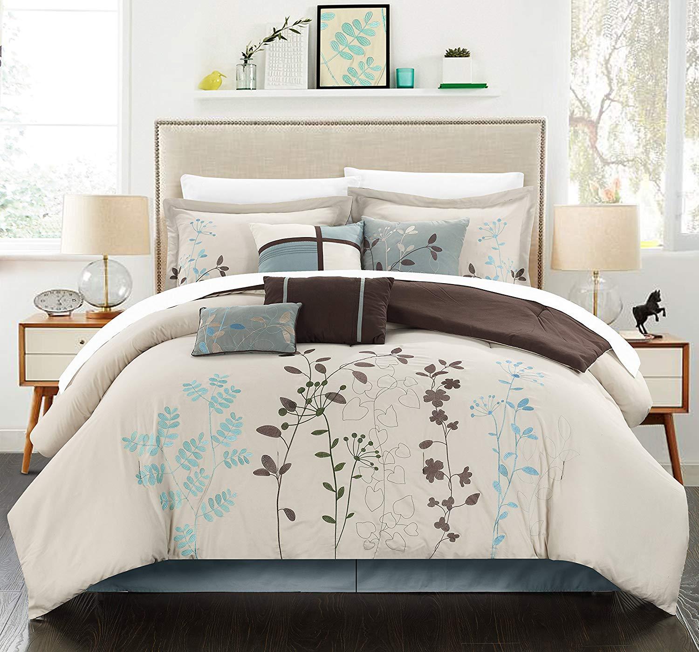 Chic Home Bliss Garden 8 Piece Comforter Set Size: King, Color: Beige