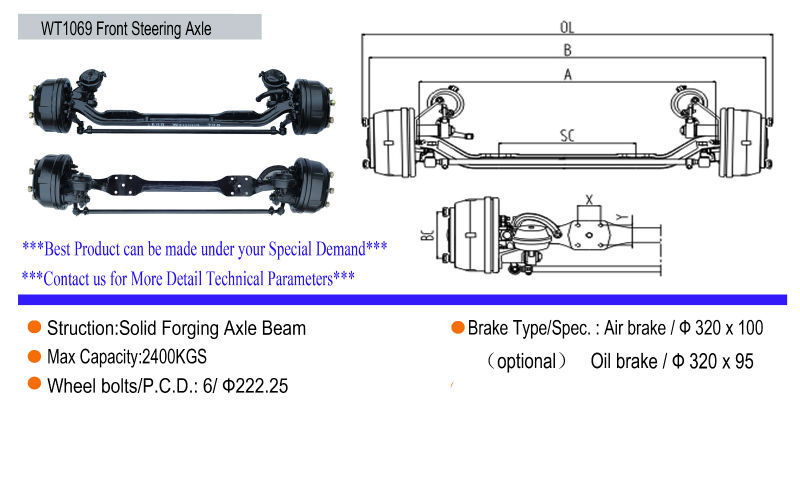 Commercial Front Axle : Fuwa agricultural trailer parts outboard drum